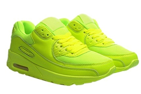 Women's Casual Platform Breathable Mesh Air Max Shock Absorbing Trainers Sport Outdoor Height-increasing Fitness Work Out Sneaker Fashion Air Cushion Running Shoes (6 US 37EU, Yellow)