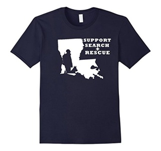 Men's I support Louisiana Search and Rescue Shirt XL Navy