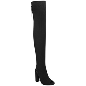 Fashion Thirsty Womens Thigh High Boots Knit Stretch Over The Knee Block Heels Peep Toe Size 5