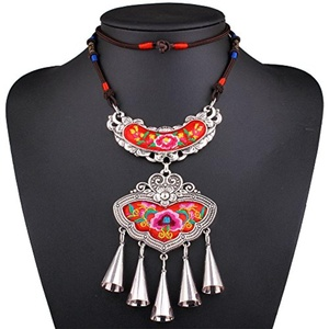 GDSTAR Ethnic Bohemian Necklace Boho Jewelry Embroidery Rope Chain Long Pendant Necklace Alloy Tassel Necklace