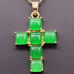 Cross Pendant 24k Gold Plated Jade Pendant Necklace Jewelry 000957