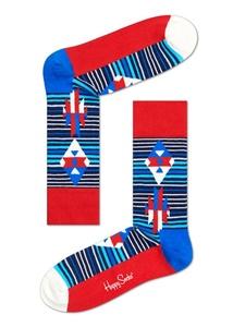 Happy Socks Men's Inca Stripe Crew Sock, Navy/Red/White, 9-11