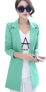 My Wonderful World Women's Work Office Blazers Slim Fit Long Blazers Casual Fashion Cyan-blue Jackets