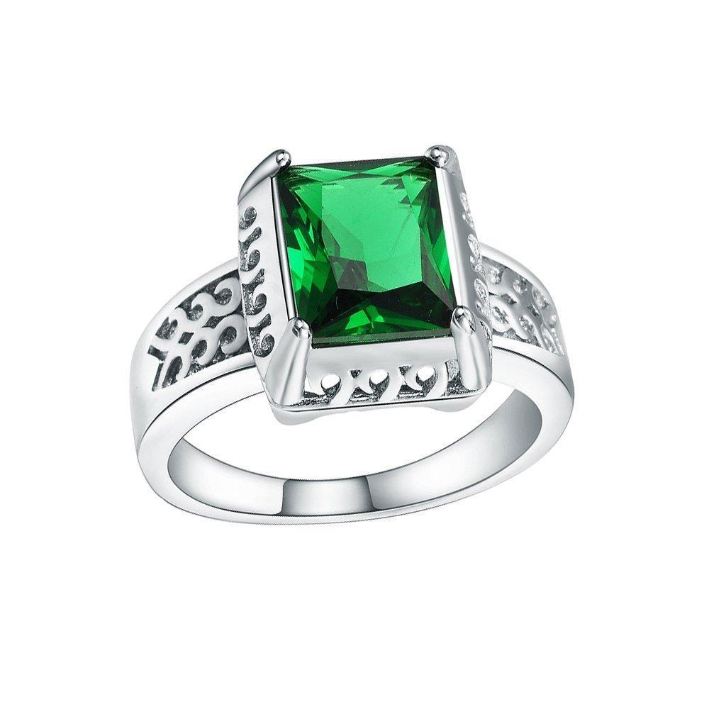 Green CZ Cublic Zircon Square Green Crytal Finger Ring Band Ring Jewelry US Size 6.7.8.9