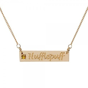 Harry Potter Hufflepuff Script Bar Necklace With Stone
