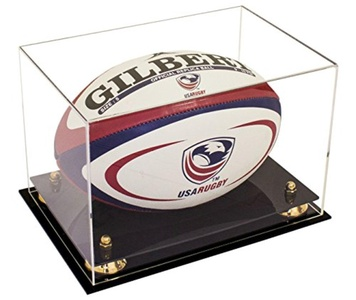Deluxe Clear Acrylic Collectible Rugby Ball Display Case with UV Protection (A004)
