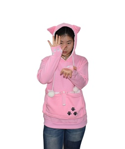 Poly Womens Hoodies Pet Holder Cat Dog Kangaroo Pouch Carriers Pullover Sweatshirt (XX-Large, Pink)