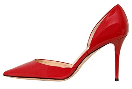 Maovii Women's High Heel Big Size Court Shoes Pointed Closed Toe Pump for Wedding Party Dress 13 M US Red Patent