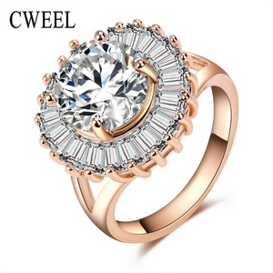 Slyq Jewelry Cubic Zirconia Ring Wedding Jewelry Gold Plated Holiday Engagement Accessories Fashion