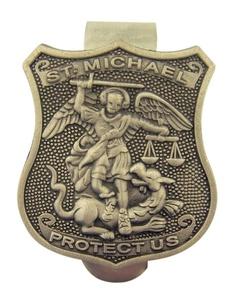 Pewter Catholic Saint Badge Shape Medal Visor Clip, 1 1/2 Inch (Saint Michael / Police Officer)