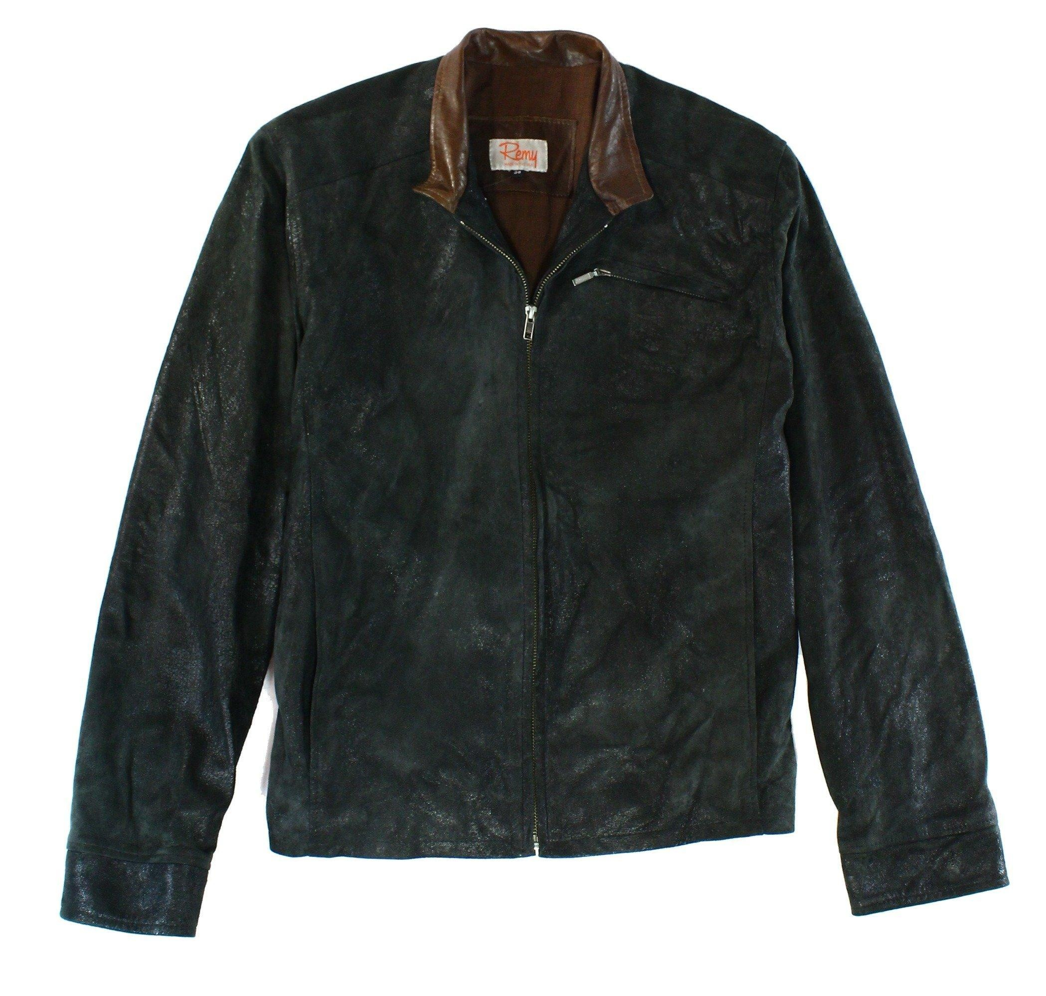 REMY Men Full Zip Crushed Suede Leather Jacket Black 38R