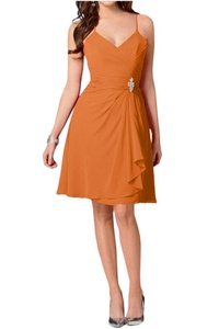 Winnie Bride Women's Short Chiffon Prom Cocktail Bridesmaid Dresses for Wedding-20W-Orange