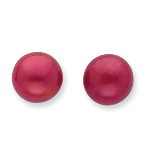 .925 Sterling Silver 11MM Freshwater Cult. Button Pearl Red Earrings