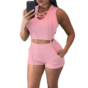 MAX Sonne Women's Fashion Sport Sleeveless Hooded Crop Top and Short Set Romper-(PINK,S)
