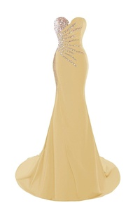 M Bridal Women's Beaded Rhinestones Strapless Lace-up Mermaid Formal Prom Dress Gold Size 18
