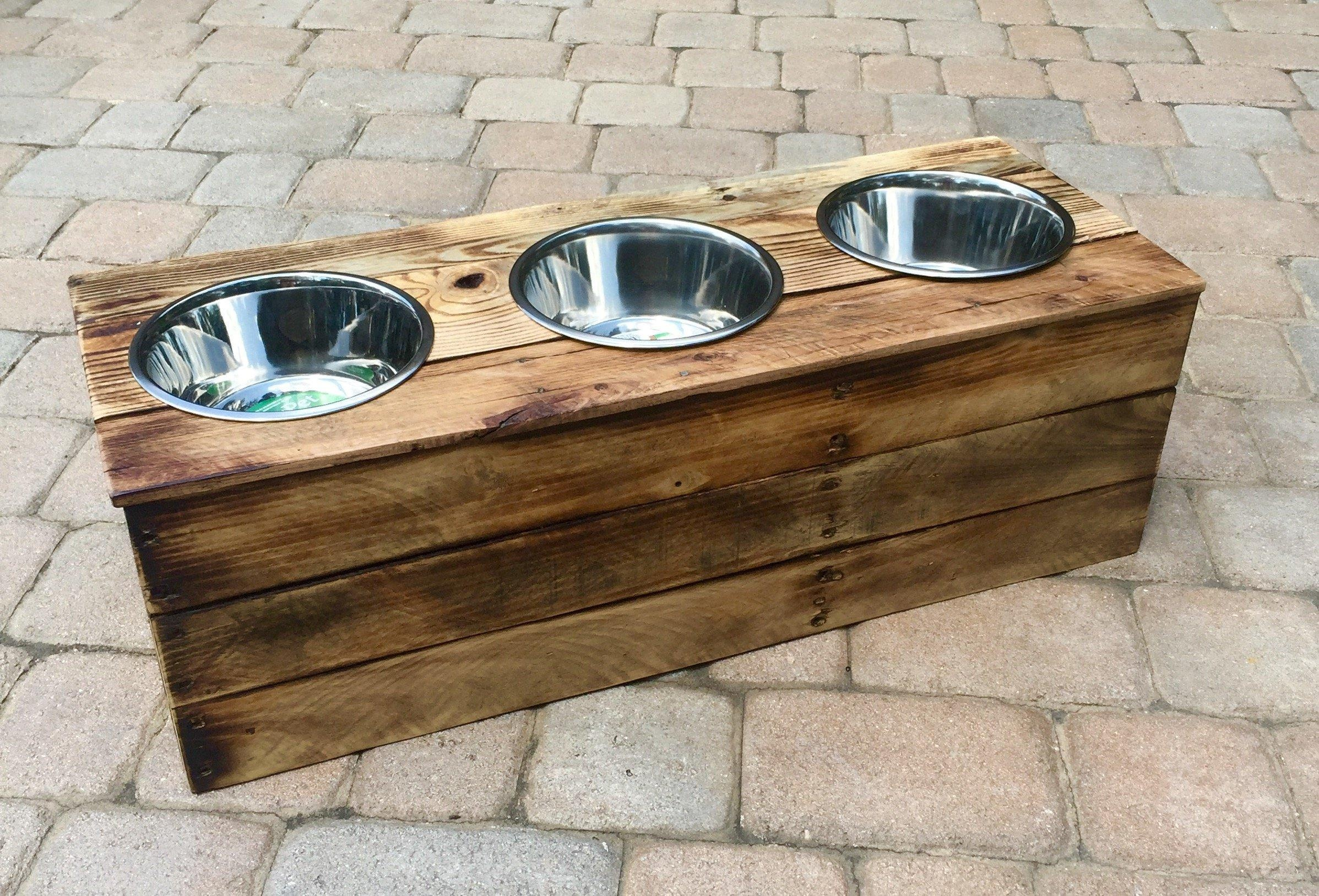 Triple Large Elevated Dog Dish 3 Bowl