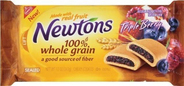 Nabisco, Newton Fruit, Triple Berry, 100% Whole Grain, 12oz Bag (Pack of 6) by Newton