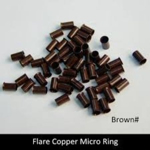 50 Brown Copper Micro Link Bead Link Tubes for I Tip Hair Extensions