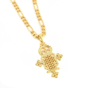 Ethiopian Cross Pendant Necklaces Chain 24K Gold Plated Filled African Gift (5.3cm Cross Pendant)