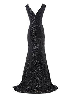 Women's Sequins Deep V-neck Ball Evening Prom Gown Bridesmaid Dress