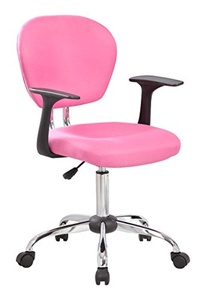 United Chair UOC-1008F-PK Mid-Back Fabric Task Chair with Arms and Chrome Basev, Pink