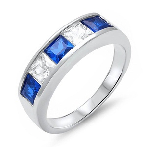 Princess Cut Simulated Blue Sapphire Cubiz Zirconia Wedding Promise Sterling Silver Ring Size 8