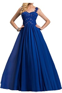 Avril Dress Elegant Illusion Tulle Back Spaghetti Strap Formal Evening Prom Ball Wedding Bridal Sweetheart Party Dress-6-Royal Blue
