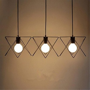 BININBOX Industrial Edison Nordic Style Pendant Metal Iron Hanging Ceiling Fixture Lamp Chandelier Country Painting Vintage Steampunk Loft (3-Light)
