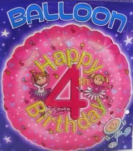 FOIL BALLOON-HAPPY 4th BIRTHDAY-18 BALLOON by 4th Birthday