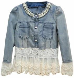 Cruiize Women's Splice Lace Long Sleeve Denim Jacket blue M
