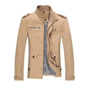 ZZHH Men's printed slim leisure jacket trench coat jacket , khaki , m
