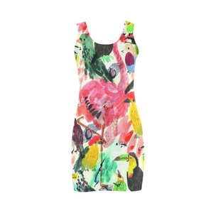 Abbie Miller Flamingo Dress Women's Polyester Vest Dress Colorful Dress