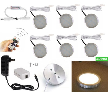 hdoduo set of 6 dimmable led puck lights led under cabinet lighting and rf controller cabinet lighting 6