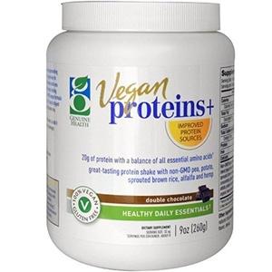 Genuine Health Corporation, Vegan Proteins +, Double Chocolate, 9 oz (260 g) by Genuine Health Corporation