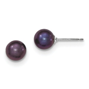 .925 Sterling Silver 7-8MM Black freshwater Cultured Round Pearl Stud Earrings