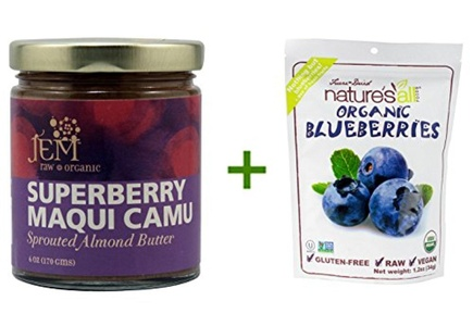 Jem Raw Organic Sprouted Almond Spread Superberry Maqui Camu -- 6 oz, (2 PACK), Nature's All Foods Organic Freeze-Dried Raw Blueberries -- 1.2 oz