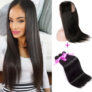 ANNMODE Hair Brazilian Virgin Human hair Bundles 3pcs + 360 Lace Band Frontal Closure Silky Straight with Natural Hairline & Adjustable Strap 12 12 12+10inch