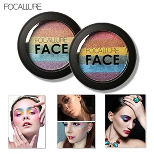 Anboo Multi-function Rainbow Highlight Eyeshadow Palette Baked Blush Face Shimmer Color Make up