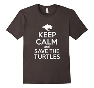 Men's Keep Calm And Save The Turtles Shirt Large Asphalt