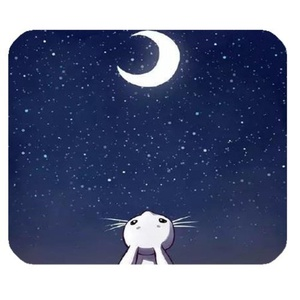 DreamOffice-Custom Rabbit and Moon Mouse pad Gaming Mouse Mat Cloth Cover Support Wired Wireless or Bluetooth Mouse,9.84