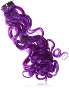 BiYa Hair Elements Thermatt Clip In Hair Extensions Curly Highlights, Dark Purple Number 20-inch/ 60g by BiYa Hair Elements