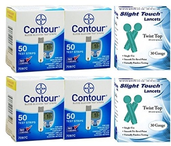 Bayer Contour Test Strips 200 Count, 200 Slight Touch 30g Lancets by Slight Touch