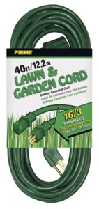 Prime Wire & Cable EC880628 40-Foot 16/3 SJTW Lawn and Garden Outdoor Extension Cord, Green by Prime Wire & Cable