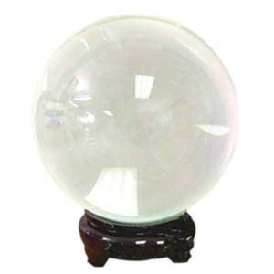 95 mm Clear Colored Quartz Crystal Ball with Wooden Stand by Raven Blackwood