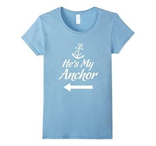 Women's He's My Anchor Navy Wife Girlfriend T-Shirt Medium Baby Blue