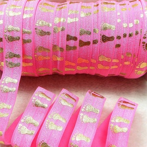 Midi Ribbon Gold Baby Footprint Print Stretch Foldover Elastic 5/8