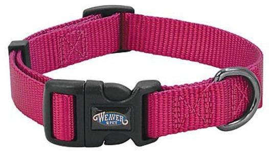 WEAVER LEATHER LLC Dog Collar, Snap-N-Go, Pink Nylon, 5/8 x 9-13-In.