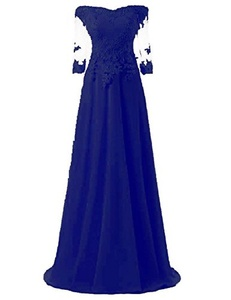 OYISHA Women's Off Shoulder Lace Half Sleeve Prom Dress Long Evening Gowns Royal Blue 22W
