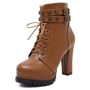 Womens Fashion PU Leather Lace Up Double Ankle Strap Chunky Heel Ankle Boots,Brown,6.5 D(M)US