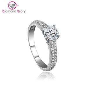 Cherryn Jewelry Classic Engagement Wedding Finger Ring Round CZ White Gold Rhodium Plated Fashion Rhinestone Jewelry
